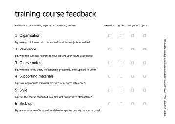 training course Feedback - Businessballs