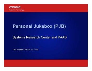 Personal Jukebox (PJB) - Birrell