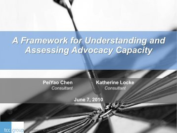 A Framework for Understanding and Assessing Advocacy Capacity
