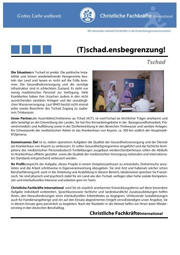 Stellenprofil Tschad - Arzt - AGGE