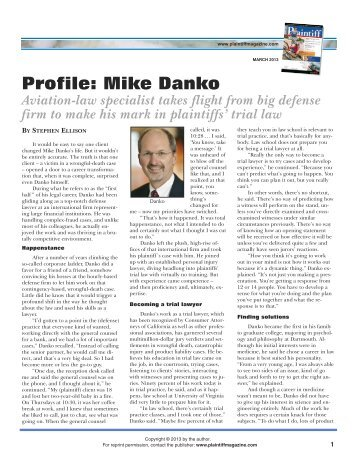 Profile: Mike Danko - Plaintiff