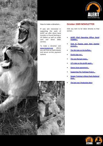 October 2009 NEWSLETTER - African Lion & Environmental ...