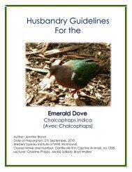 Emerald Dove Husbandry Manual - Nswfmpa.org