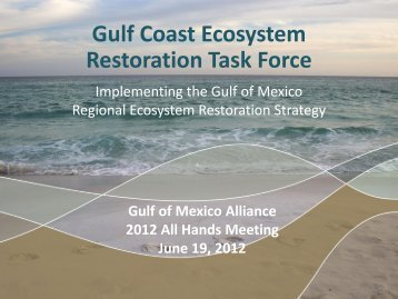 Gulf Coast Ecosystem Restoration Task Force - Gulf of Mexico Alliance