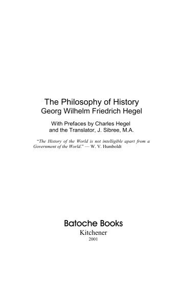 Hegel, The Philosophy of History - Faculty of Social Sciences