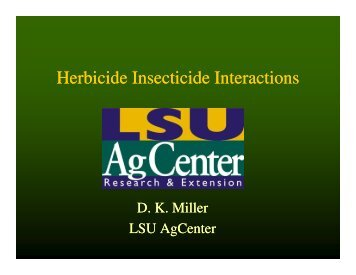 Herbicide Insecticide Interactions