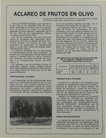 aclareo de frutos en olivo - Helvia - Universidad de Córdoba