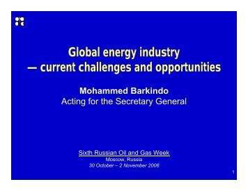 Global energy industry — current challenges and opportunities