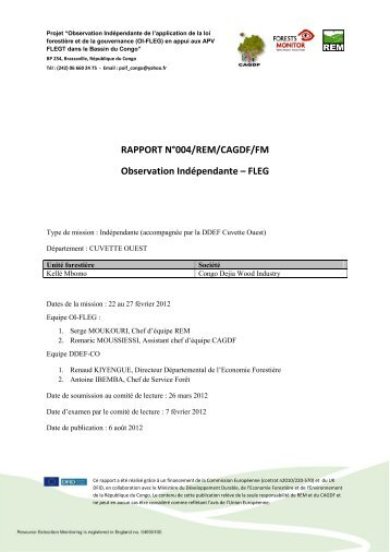 RAPPORT N°004/REM/CAGDF/FM Observation Indépendante – FLEG