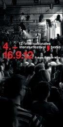 Programm 12. internationales literaturfestival berlin 2012
