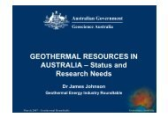 GEOTHERMAL RESOURCES IN AUSTRALIA – Status and ...