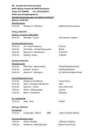 Schiedsrichter-Ansetzungen vom 26.06. bis 30.06.2013