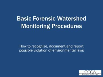 Basic Forensic Watershed Monitoring Procedures - Otsego County ...