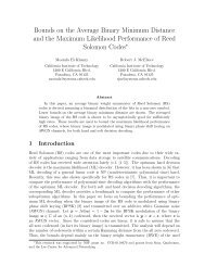 Bounds on the Average Binary Minimum Distance and the ... - Caltech