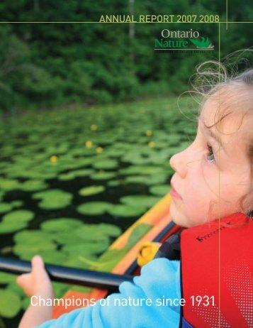 AnnuAl RepoRt 2007 2008 - Ontario Nature