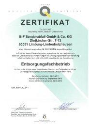 ZERTIFIKAT - BF Sonderabfall GmbH & Co. KG