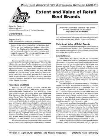 Extent and Value of Retail Beef Brands - OSU Fact Sheets ...