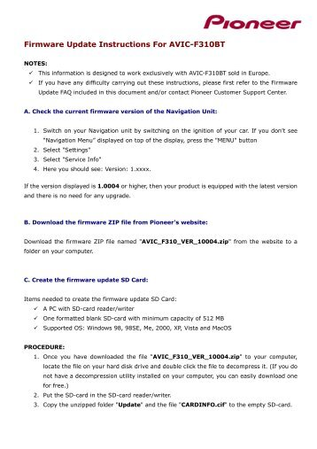 firmware update instructions for avic f310bt pioneer europe