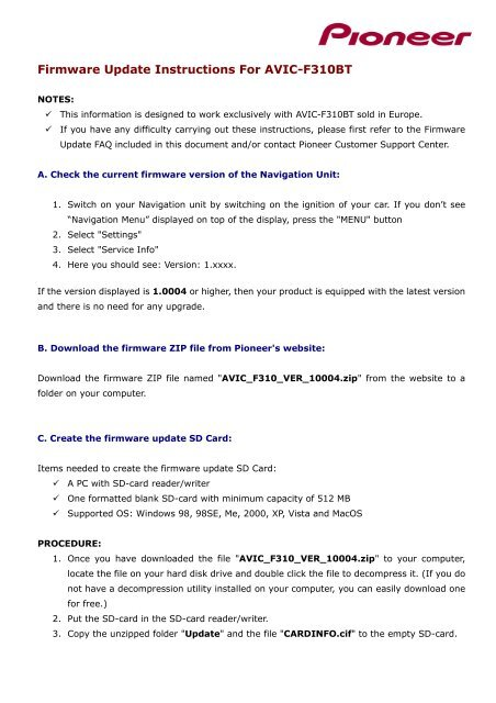 Firmware Update Instructions For AVIC-F310BT - Pioneer Europe