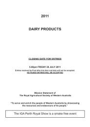 2011 DAIRY PRODUCTS - Perth Royal Show