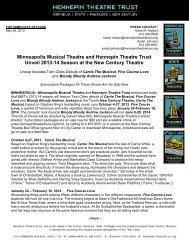 2013-14 MMT Season Press Release - Hennepin Theatre Trust