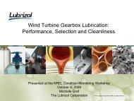 Wind Turbine Gearbox Lubrication: Performance, Selection ... - NREL