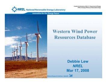 Western Wind Power Resources Database - NREL