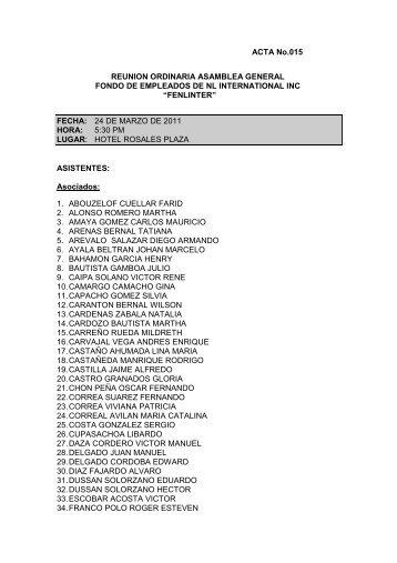 ACTA No.015 REUNION ORDINARIA ASAMBLEA ... - Fenlinter