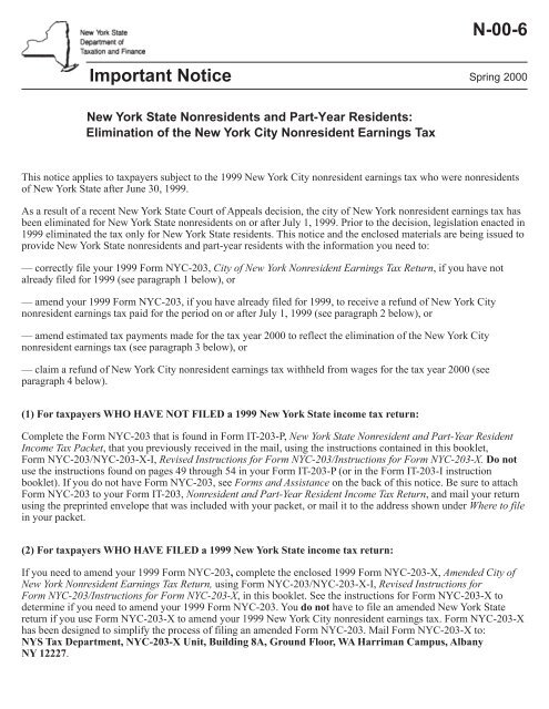 N-00-6 - New York State Department of Taxation and Finance