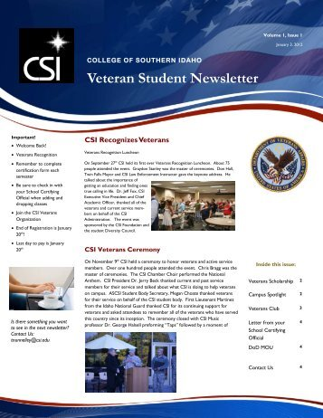 Veteran Student Newsletter - College of Southern Idaho