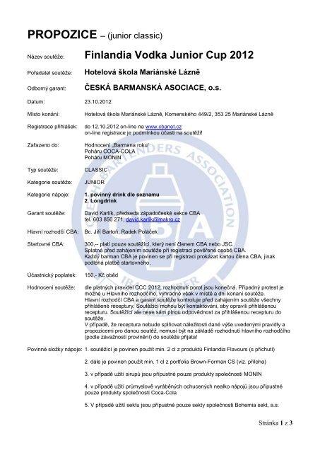 finlandia cup 2012 mariánské lázně - Česká barmanská asociace