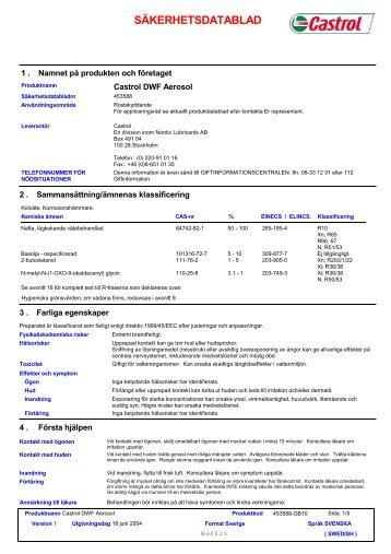 5909 Castrol DWF Aerosol (Swedish (SE)) BP EU SDS ... - IQ Logistics