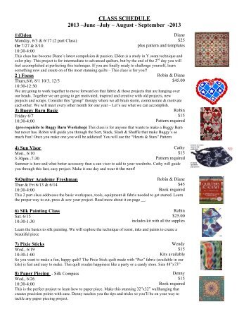 2013 June-July-August-September Classes - Tater Patch Quilts