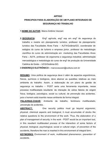 ARTIGO PRINCíPIOS PARA ELABORAÇÃO DE UM PLANO ... - Ucg
