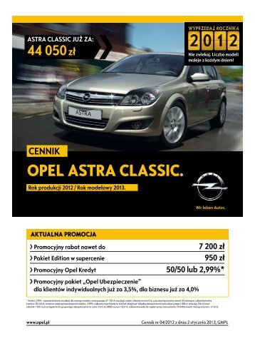 Rok produkcji 2012 - Opel Polska