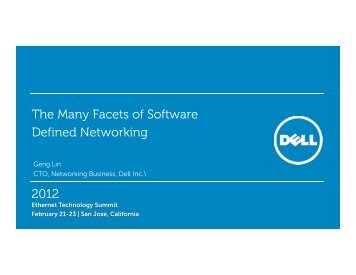 The Many Facets of Software Defined Networking 2012 0 - Ethernet ...
