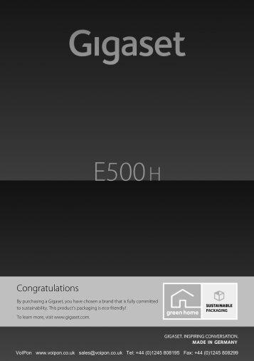 Siemens Gigaset E500H Handset Datasheet (PDF)