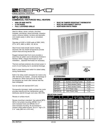 4400 Series Low Profile Commercial Fan Forced Wall Heater