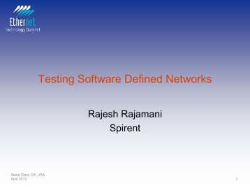Testing Software Defined Networks - Ethernet Technology Summit