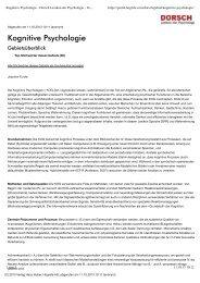 Kognitive Psychologie - Dorsch Lexikon der Psychologie - Verlag ...