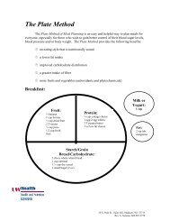 The Plate Method of Meal Planning (pdf) - UW Health