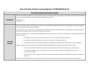 New York State Student Learning Objective: KEYBOARDING (9-12)