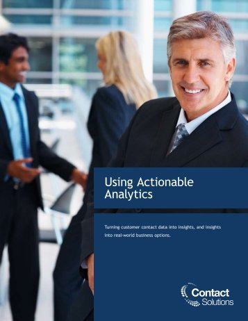 Using Actionable Analytics - Marketwire
