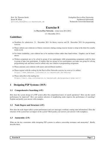 Exercise 8 - P2P Networks Group - Technische Universität Darmstadt