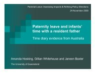 Paternity leave and infants - University of Queensland