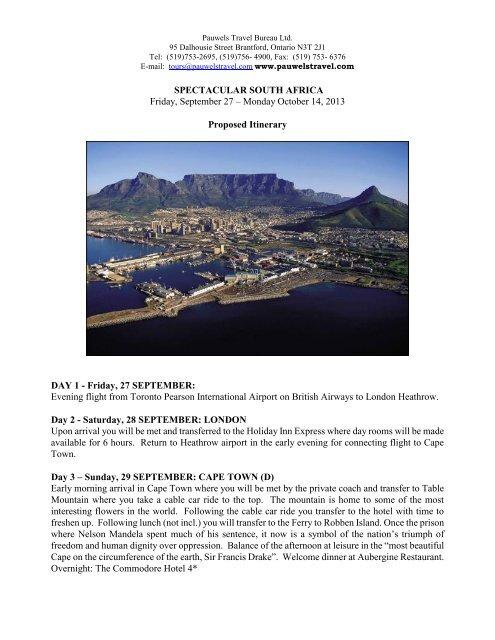 itinerary & booking - Pauwels Travel Bureau Ltd