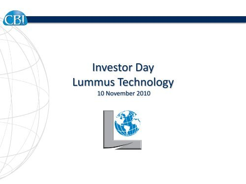 Investor Day CB&I Steel Plate Structures