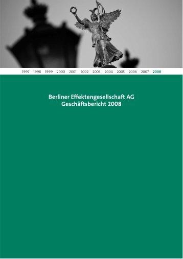 Berliner Effektengesellschaft AG Geschäftsbericht 2008
