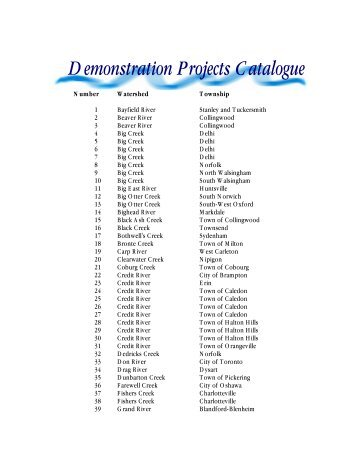Demonstration Projects Catalogue - Ontario Streams