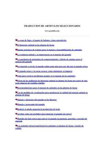 TRADUCCION DE ARTICULOS SELECCIONADOS -  Bienestar Animal